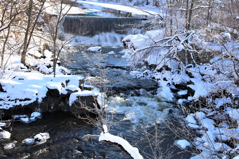 Sentier de la rivière, hiver, ciel, soleil, pont, nature, paysage