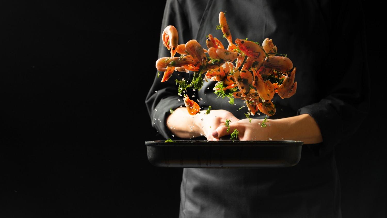 Chef, crevettes, nourriture, restaurant, expériences culinaires