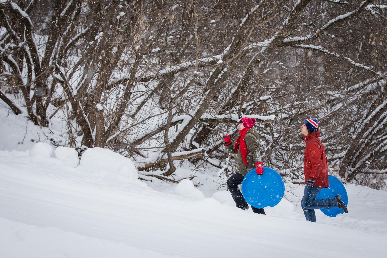 Parc Daniel-Johnson, hiver, enfants, plaisir, nature, jeux